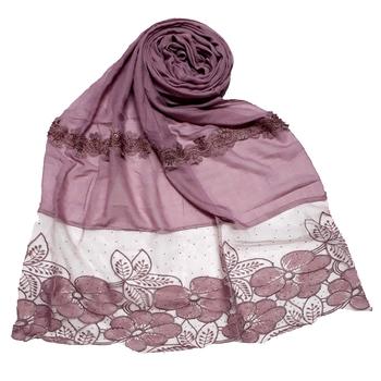Purple Designer Diamond Flower Bodered Stole