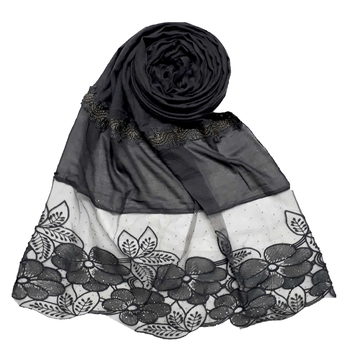 Grey Designer Diamond Flower Bodered Stole