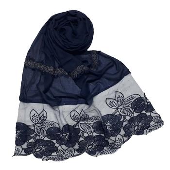 Blue Designer Diamond Flower Bodered Stole