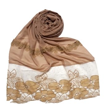 Brown Designer Diamond Flower Bodered Stole
