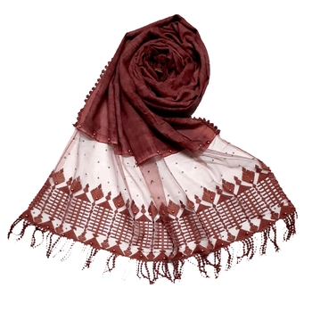 Maroon Designer Hand Work String Studed Stole