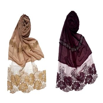 Multicolor Designer Diamond Flower Bodered Stole ( Set Of 2 Hijab)