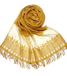 Yellow Designer Hand Work String Studed Stole