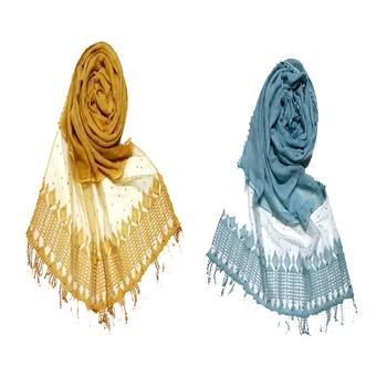 multicolor Designer Hand Work String Studed Stole ( set of 2 hijab)
