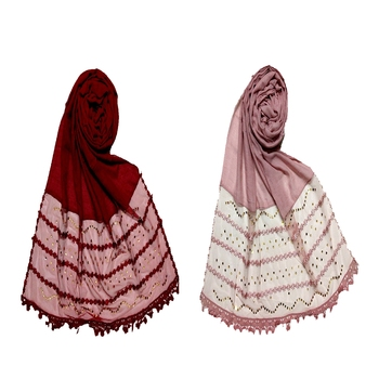 multicolor Designer Golden Beat's Studed Cotton Stole ( set of 2 hijab)