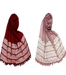 multicolor Designer Golden Beat's Studed Cotton Stole ( set of 2 hijab)