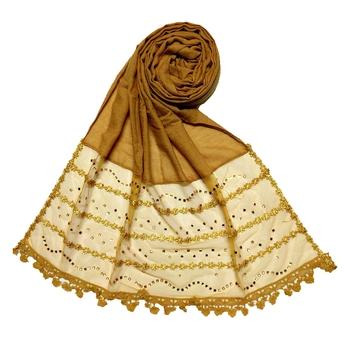 Yellow Designer Golden Beat's Studed Cotton Stole