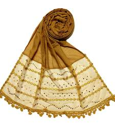 Yellow Designer Golden Beat's Studed Cotton Stole