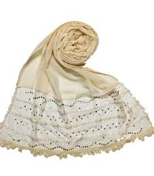 Cream Designer Golden Beat's Studed Cotton Stole