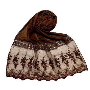 Brown Premium Cotton Bodered Flower Stole