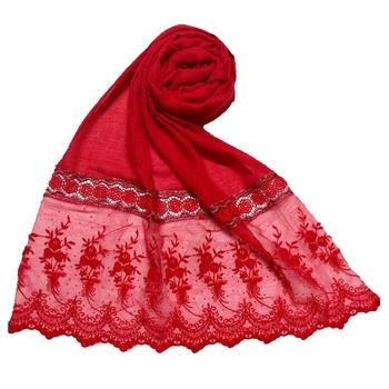 Red Premium Cotton Bodered Flower Stole