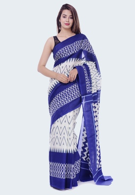 Blue Ikkat Print Cotton saree with blouse