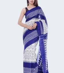 Blue Ikkat Print Cotton saree with blouse
