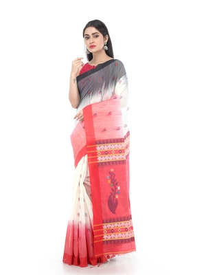 White Handloom Cotton Saree With Blouse