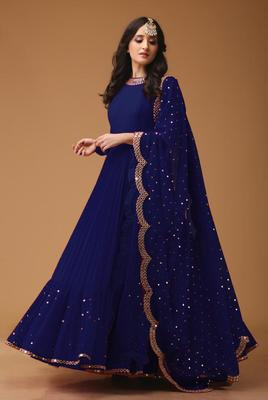 Navy Blue Colored Georgette Embroidered Designer Floor Length Anarkali Suit