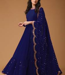 Neavy Blue Colored Georgette Embroidered Designer Floor Length Anarkali Suit