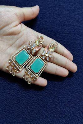 Green swarovski crystal earrings