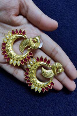 Gold ruby  earrings