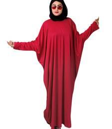 Red plain crepe abaya
