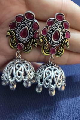 Pink ruby  earrings