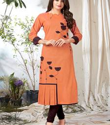 Orange plain khadi party-wear-kurtis