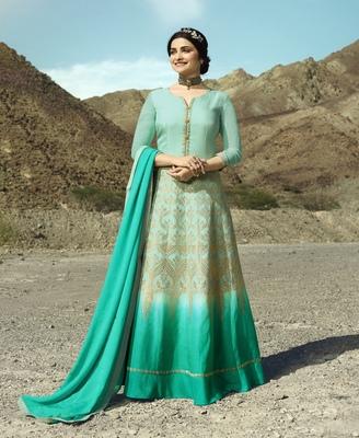 Turquoise Jacquard Silk Blend Salwar