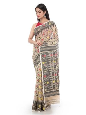 Beige Women Soft Dhakai Jamdani Saree