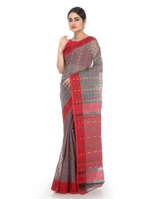 Grey Women Soft Dhakai Jamdani Saree