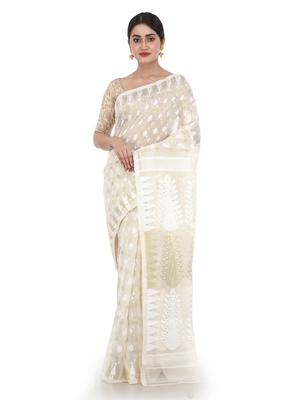White Women Soft Dhakai Jamdani Saree