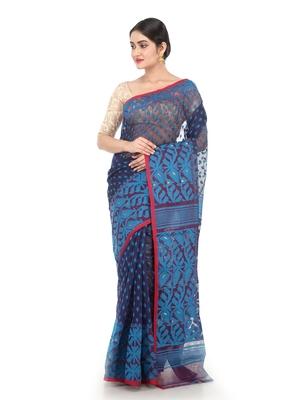 Blue Women Soft Dhakai Jamdani Saree