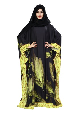 Multicolor Printed Polyester Abaya