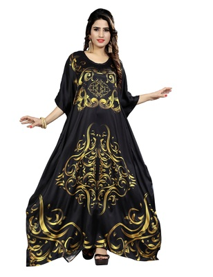 Black printed satin islamic-kaftans