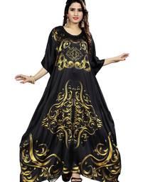 Black printed satin islamic-kaftans