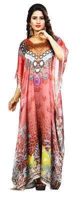 Multicolor Printed Satin Islamic-Kaftans