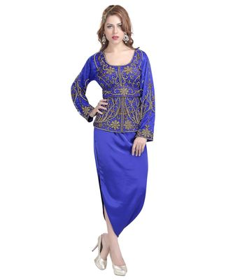 royal blue satin embroidered zari work islamic kaftans