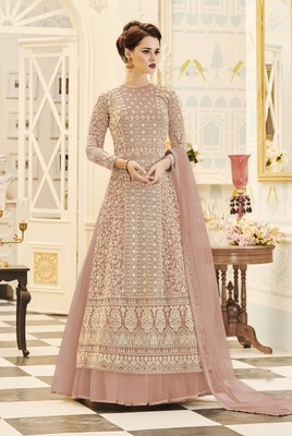 Light-peach embroidered net salwar