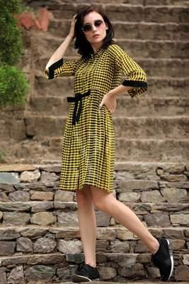 YELLOW & BLACK SHIRT STYLE DRESS
