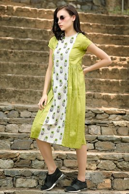 LIME GREEN DRESS WITH PRINTED PANEL