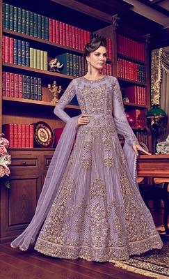 Light-purple embroidered pure net salwar