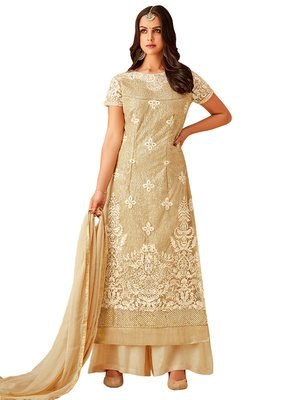 off white embroidered Net unstitched salwar with dupatta