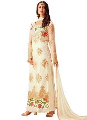 White embroidered Net unstitched salwar with dupatta