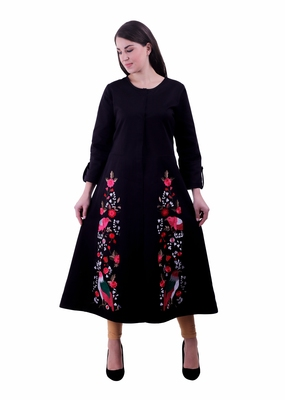 Black Embroidered Cotton Ethnic Kurti