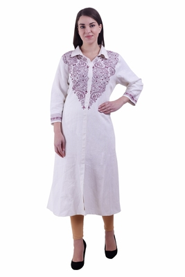 White Embroidered Linen Ethnic Kurti