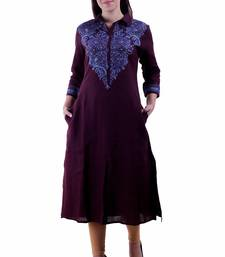 Wine Embroidered Linen Ethnic Kurti