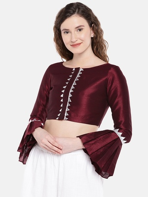 maroon Raw Silk Boat Neck Readymade  non padded Blouse