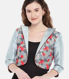 greyish blue embroidered Jacket