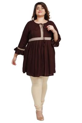 rayon slub Dark Brown with woven lace pattern Plus size ladies top