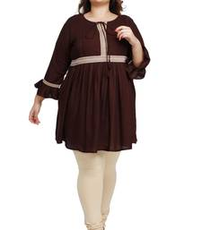 rayon slub Dark Brown with woven lace pattern Plus size ladies top