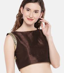 brown Padded Slub Silk Blouse