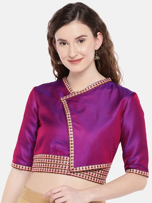 purple non padded twill Kimono blouse